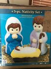 New Christmas 3 Piece Childs Nativity Scene Lighted Blow Mold Yard Decoration