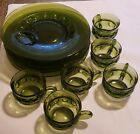 emerald green depression glass snack trays and cups (Set of 6)