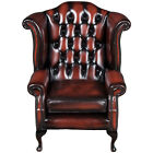 Vintage Antique Style Tufted Red Leather Wing Back Arm Chair Queen Anne English