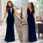 US Blue Velvet Evening Ball Gown Long Cocktail Prom Dresses 07181 Ever-Pretty