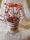Cow tin bucket vintage-look w/ orange and creamy white primitive pip berries nwt