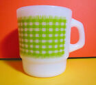 VTG 1960s Retro Fire King Milk Glass Green Preppy Plaid Gingham Coffee Cup Mug