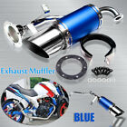 Short Performance Exhaust Muffler Pipe Blue Steel For GY6 150cc Chinese Scooter