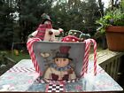 Christmas Pieces for Decorating Snowman Mittens Ornaments Painted Tin Bucket