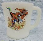 Old Fire King Mallard Duck milk white glass vintage D handle cup mug FREE S/H
