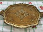ANTIQUE ITALIAN GOLD FLORENTINE TRAY TOLEWARE ORNATE HOLLYWOOD REGENCY