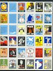 USA POSTER STAMPS SHEET 36 DIF PEACE WAR FOLDED OVER PERFORATION  MOST VF