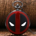 Cool Deadpool Theme Fob Pocket Watch with Black Chain Necklace Best Gifts
