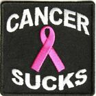 Cancer Sucks Pink Ribbon Embroidered Biker Patch