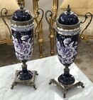 Pair OF Vases Svres Style Gilt Bronze COBALT Hand Paint Floral Italian Signed