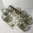 Federal Roly Poly Gold Coin Low Ball Glasses Caddy Set 7 MCM Vintage