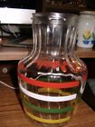 Vintage Glass Bottle, Retro Mid Century Striped Carafe Pitcher Juice Jug- No Lid