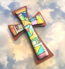FUSED DICHROIC ETCHED GLASS CROSS ON WOOD WALL ART UNIQUE