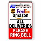 All Deliveries Please Ring Bell Sign METAL 3 sizes delivery usps fedex ups SI121