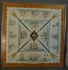 Vintage FRENCH MID CENTURY Nautical HERMES Paris LA MARINE in BOIS Silk SCARF