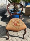 Vintage Carved Wood Frame Side Chair With Needlepoint Seat - Pick Up Only