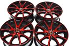 15 red rims wheels Civic Cooper Del Sol Corolla Prius C Accord Rio 4x100 4x1143