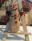 Primitive Needle Punch Ornament *Angel Frosty* Snowman Christmas Home Decor