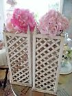 2 ANTIQUE LATTICE WOOD GARDEN BOXES,CHIPPY OLD WHITE PAINT,2 DIE 4,SHABBY