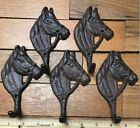 5 Horse COAT HOOKS WALL rustic cast iron hanger Towel Bath Barn Belt Leash Keys