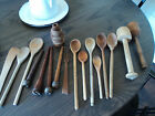antique primitive old farm kitchen wood spoons/mashers/spools/cone*patina* 18 pc