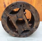 Antique Wood Flat Belt Pulley Wheel Primitive Farm Industrial Hit