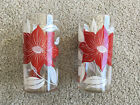 Set of 2 Glasses SWANKY SWIGS Tumblers Red White Flowers Poinsetta? 1970s KITCH