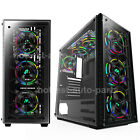 Gaming Computer Case ATX Mid Tower 6 RGB Fan Pre installed Tempered Glass USB30