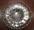 Vintage HEAVY glass SERVING BOWL silver plate FLORAL design 1950s earlier