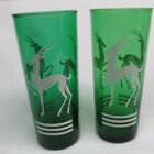 Vintage Set of 2  Forest Green Deer Gazelle/Antelope Tumbler Glass