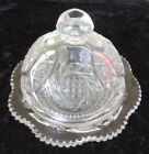 Vintage etched Clear Pressed Glass Cheese Ball / Butter Dish Dome Lid