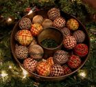 = 12 RAG BALLS Primitive Farmhouse Homespun Bowl Filler Tucks Ornies Ornaments