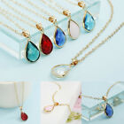 Women Water Drop Birthstone Natural Stone Crystal Pendant Charm Necklace Gifts