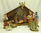 Vtg Large Paper Mache Composition 9 Nativity Figures Set w Manger