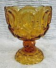 Vintage LE Smith Amber Gold Glass Pedestal Candy Dish without the lid FREE S/H