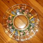 LOT of 7 VTG Indiana Glass GARLAND Flashed GRAPES Glass Lunch PLATES 9 1/2
