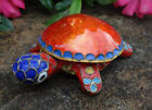Glossy Bright Red Enameled Cloisonne TURTLE Open Salt Dip Cellar Dish w Lid