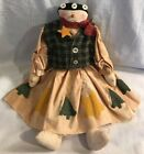Primitive Rag Snowgirl Doll Snowman Christmas Winter Decoration Folk Art