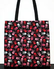 Red Pink and White Skulls Handmade Large Carryall Tote Bag