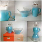 VTG 1960s MID Century Modern Blue Frost Blendo Glass Party Punch Bowl