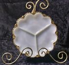 VINTAGE Fire King Milk Glass 3 Section Serving Dish w/Thick Sculpted Gold Rim