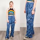 PAISLEY PRINT TROUSERS WOMENS VINTAGE NAVY BLUE WIDE LEG CASUAL BOHO STYLE 18