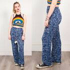 HIPPIE TROUSERS NAVY BLUE FLORAL PATTERN WOMENS BOHO VINTAGE WIDE LEG CASUAL 8