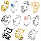 Lovely Adjustable Dog Cat Paw Footprint Twisted Open Rings Cute Women Jewelry