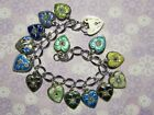 Vintage Sterling silver charm bracelet 14 enameled puffy heart charms