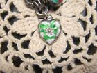Vintage Sterling silver enameled puffy heart charm GREEN  WHITE pansy
