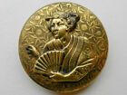 Extra Large Antique Victorian Metal Picture Button Oriental Lady Fan Wallpaper
