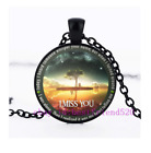 MY HEART IS TELLING ME I MISS YOU  Cabochon Glass Pendant Chain Necklace