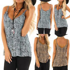Women Sexy V Neck Snake Animal Print Camisole Tank Vest Blouse Crop Tops LM