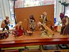 X Large 12PC Hand Painted Fabric Clothing Porcelain NATIVITY Set